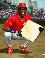 CHICAGO - 1986:  Vince Coleman of the St. Louis Cardinals poses for a portrait while holding a base prior to an MLB game versus the Chicago Cubs at Wrigley Field in Chicago, Illinois.  Coleman played for the Cardinals from 1985-1990.  (Photo by Ron Vesely)
