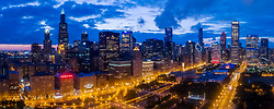 Chicago aerial drone's eye panorama at dusk from above Grant Park, August 2017.