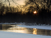 Waterfowl at Sunset on a Frozen Creek at Minute Man National Historic Site, Concord, Massachusetts