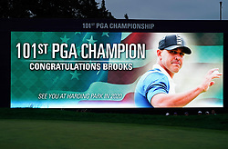 May 19, 2019 - Bethpage, New York, United States - Signage seen on the 18th green after Brooks Koepka wins the 101st PGA Championship at Bethpage Black. (Credit Image: © Debby Wong/ZUMA Wire)