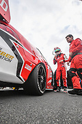 19th May 2018, Winton Motor Raceway, Victoria, Australia; Winton Supercars Supersprint Motor Racing; Will Davison stands next to the number 230 23Red Racing Ford Falcon FG XWill Davison drives the number 230 23Red Racing Ford Falcon FG X