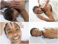 Collage of woman receiving spa treatment