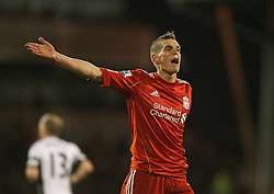 05.12.2011, Craven Cottage Stadion, London, ENG, PL, FC Fulham vs FC Liverpool, 14. Spieltag, im Bild Liverpool's Daniel Agger in action against Fulham during the football match of English premier league, 14th round, between FC Fulham and FC Liverpool at Craven Cottage Stadium, London, United Kingdom on 05/12/2011. EXPA Pictures © 2011, PhotoCredit: EXPA/ Sportida/ David Rawcliff..***** ATTENTION - OUT OF ENG, GBR, UK *****