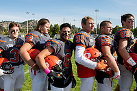 KELOWNA, BC - OCTOBER 6: Kian Ishani #8 of Okanagan Sun stands for the last time on the sidelines for the national anthem against the VI Raiders at the Apple Bowl on October 6, 2019 in Kelowna, Canada. (Photo by Marissa Baecker/Shoot the Breeze)