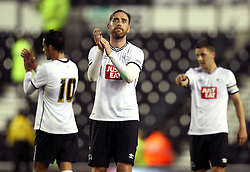Derby County's Richard Keogh applauds the Derby County fans - Mandatory by-line: Robbie Stephenson/JMP - 07966386802 - 29/07/2015 - SPORT - FOOTBALL - Derby,England - iPro Stadium - Derby County v Villarreal CF - Pre-Season Friendly