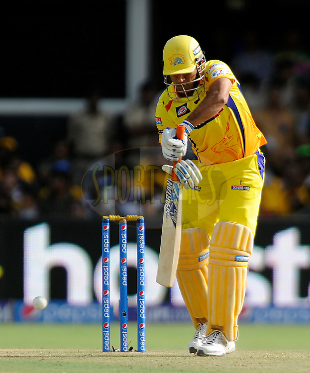 Mahendra Singh Dhoni captain of Chennai Super Kings bats during match 15 of the Pepsi IPL 2015 (Indian Premier League) between The Rajasthan Royals and The Chennai Superkings held at the Sardar Patel Stadium in Ahmedabad , India on the 19th April 2015.<br /> <br /> Photo by:  Pal Pillai / SPORTZPICS / IPL