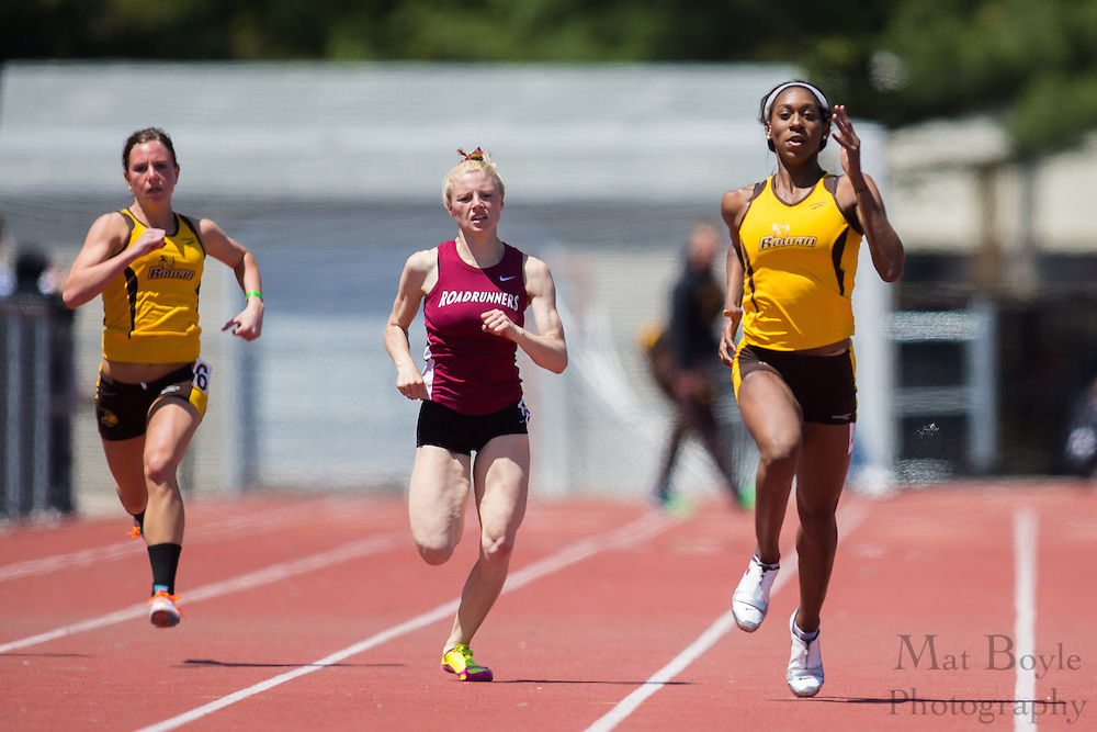 Rowan University's Shailah Williams Perry competes in the women's 200 meter at the NJAC Track and Field Championships at Richard Wacker Stadium on the campus of  Rowan University  in Glassboro, NJ on Sunday May 5, 2013. (photo / Mat Boyle)