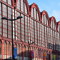 Central Station Red Steel and Glass Train Shed in Antwerp, Belgium<br />