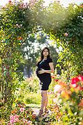 Larane poses for her maternity portraits at San Jose Municipal Rose Garden in San Jose, California, on August 7, 2017. (Stan Olszewski/SOSKIphoto)