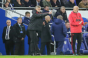 Manchester United interim Manager Ole Gunnar Solskjaer gestures and celebrates after Manchester United Midfielder Ander Herrera goal (not in picture) during the Premier League match between Cardiff City and Manchester United at the Cardiff City Stadium, Cardiff, Wales on 22 December 2018.