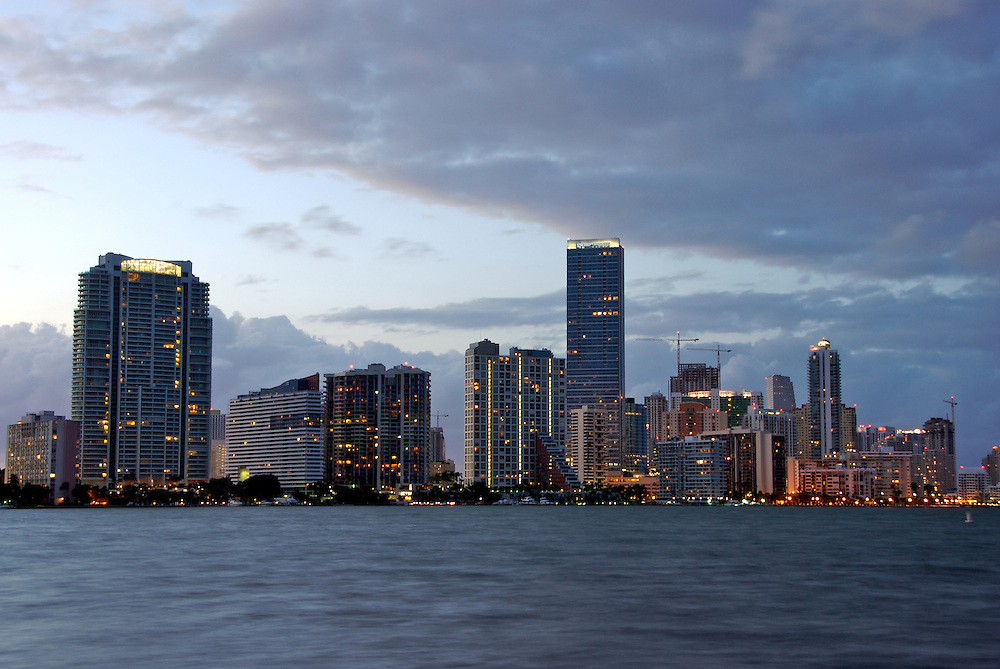 Buildings in Brickell Ave. in Miami at dusk. This is a high profile residential area in Miami, the location offers view of Biscayne Bay.