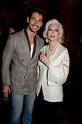 DAVID GANDY; CARMEN DELL'OREFICE;, London College of Fashion hosts party to celebrate the opening of Carmen: A Life in Fashion with guest of honour Carmen Dell'Orefice. Il Bottachio, Hyde Park Corner. London. 16 November 2011. <br /> <br />  , -DO NOT ARCHIVE-© Copyright Photograph by Dafydd Jones. 248 Clapham Rd. London SW9 0PZ. Tel 0207 820 0771. www.dafjones.com.
