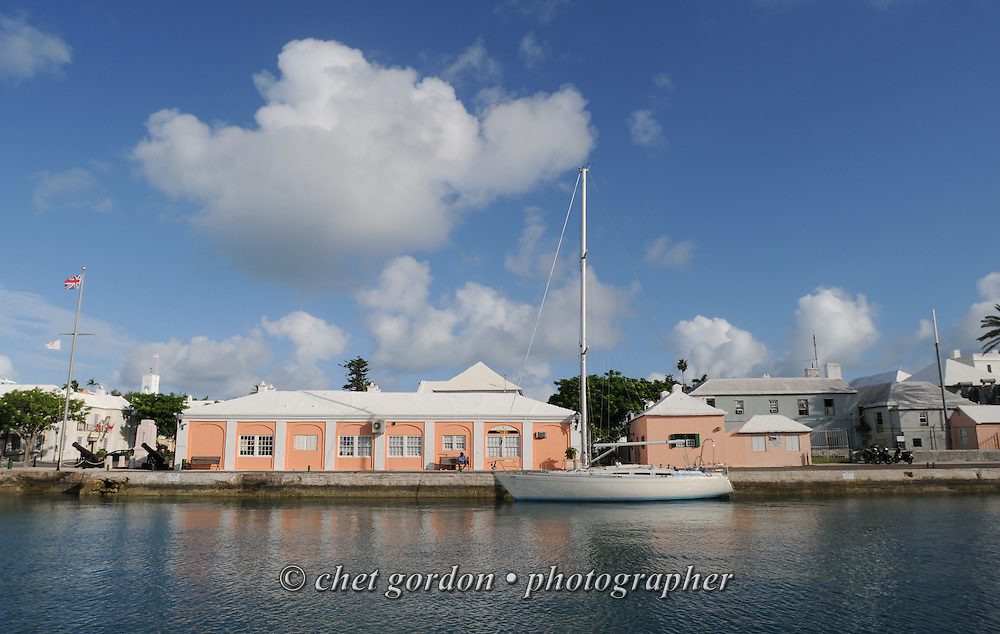 A sailboat moored in St. George's harbor, Bermuda on Friday, September 21, 2012.