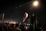 Pro-democracy protesters in an around Tahrir Square exploded with joy after announcement of President Hosni Mubarak stepping down. 11 February 2011.