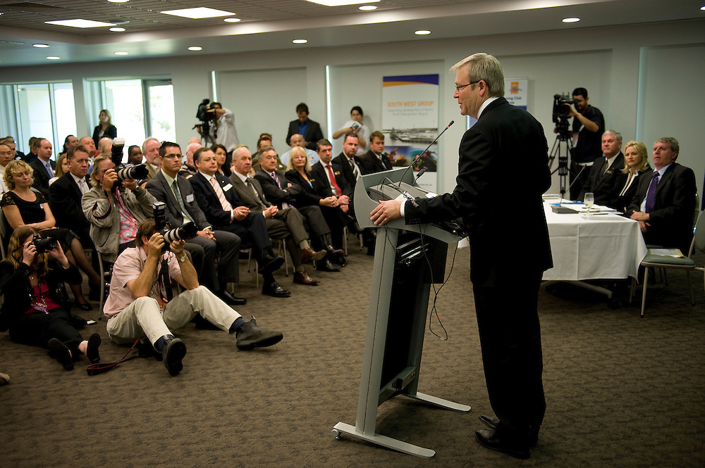 Prime Minister Kevin Rudd hosts a jobs forum at the City of Cockburn Administration Centre in Spearwood, Western Australia