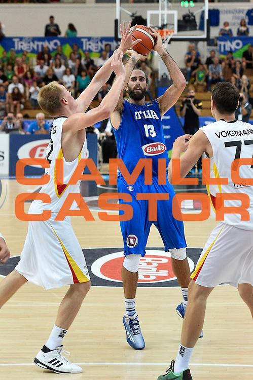 DESCRIZIONE : Trento Nazionale Italia Uomini Trentino Basket Cup Italia Germania Italy Germany <br /> GIOCATORE : Luigi Datome<br /> CATEGORIA : tiro three points<br /> SQUADRA : Italia Italy<br /> EVENTO : Trentino Basket Cup<br /> GARA : Italia Germania Italy Germany<br /> DATA : 01/08/2015<br /> SPORT : Pallacanestro<br /> AUTORE : Agenzia Ciamillo-Castoria/GiulioCiamillo<br /> Galleria : FIP Nazionali 2015<br /> Fotonotizia : Trento Nazionale Italia Uomini Trentino Basket Cup Italia Germania Italy Germany