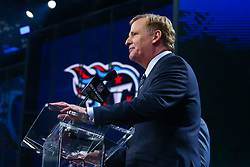 April 26, 2018 - Arlington, TX, U.S. - ARLINGTON, TX - APRIL 26:  NFL Commissioner Roger Goodell steps to the podium and is loudly booed just prior to the first round of the 2018 NFL Draft at AT&T Statium on April 26, 2018 at AT&T Stadium in Arlington Texas.  (Photo by Rich Graessle/Icon Sportswire) (Credit Image: © Rich Graessle/Icon SMI via ZUMA Press)