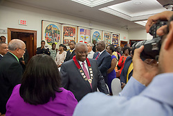 Governor Kenneth E. Mapp enters the chambers.  Governor Kenneth E. Mapp delivers the State of the Territory Address at the Earle B. Otlley Legislative Chambers.  St. Thomas, USVI.  30 January 2017.  © Aisha-Zakiya Boyd