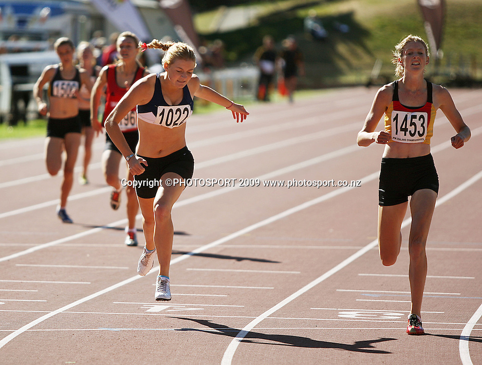 Auckland's Katrina Anderson wins the women's under-16 400m ahead of Waikato Bay of Plenty's Katherine Camp (right).<br /> National athletics championships, Day Two at Newtown Park, Wellington. Friday, 27 March 2009. Photo: Dave Lintott/PHOTOSPORT