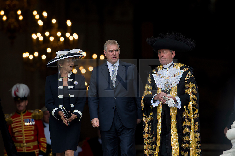 © Licensed to London News Pictures. 07/07/2015. London, UK. PRINCE ANDREW  leaving the service. . A church service held at St Paul's Cathedral In London on the 10th anniversary of the 7/7 bombings in London which killed 52 civilians and injured over 700 more.  Photo credit: Ben Cawthra/LNP