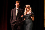 "Goshen, New York - Members of the Goshen High School Drama Club peform on stage during a dress rehearsal of ""Register Here"" in the auditorium on Nov. 5, 2015. The play is a murder-mystery farce by David Meyer."