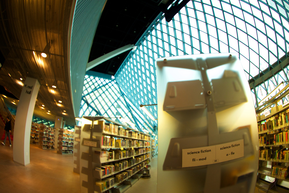 some science fiction selections in a space-age designed library.