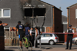 "© Licensed to London News Pictures. 07/08/2018. London, UK. The scene of a house fire in Deptford, east London, in which a 7 year-old boy has died. Six fire engines were called to a ""suspicious"" fire in the early hours of Tuesday morning. Photo credit: Rob Pinney/LNP"