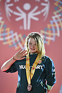 Abu Dhabi, United Arab Emirates - 2019 March 15: Beatrix Bartha from Hungary took third place in roller skating during Special Olympics World Games Abu Dhabi 2019 on March 15, 2019 in Abu Dhabi, United Arab Emirates. (Mandatory Credit: Photo by (c) Adam Nurkiewicz)