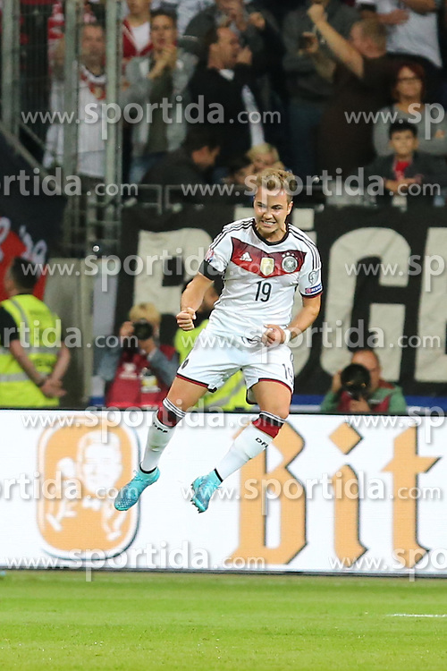 04.09.2015, Commerzbank Arena, Frankfurt, GER, UEFA Euro Qualifikation, Deutschland vs Polen, Gruppe D, im Bild Mario Goetze (Deutschland) jubelt zu seinem Tor zum 2:0 // during the UEFA EURO 2016 qualifier Group D match between Germany and Poland at the Commerzbank Arena in Frankfurt, Germany on 2015/09/04. EXPA Pictures &copy; 2015, PhotoCredit: EXPA/ Eibner-Pressefoto/ Roskaritz<br /> <br /> *****ATTENTION - OUT of GER*****