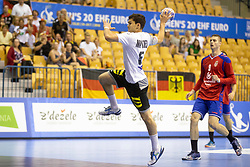 Tim Matthes of Germany during handball match between National teams of Serbia and Germany in Main Round of 2018 EHF U20 Men's European Championship, on July 25, 2018 in Arena Zlatorog, Celje, Slovenia. Photo by Urban Urbanc / Sportida