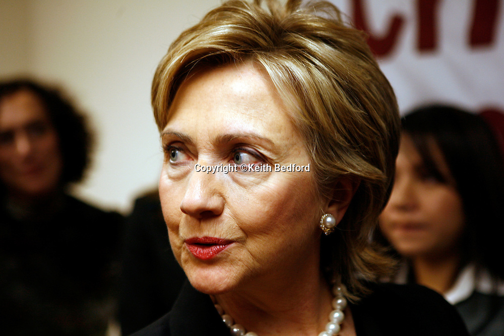 U.S. Senator Hillary Rodham Clinton speaks to reporters during a news conference to discuss identity theft in New York, October 29, 2006. Photo by Keith Bedford<br />