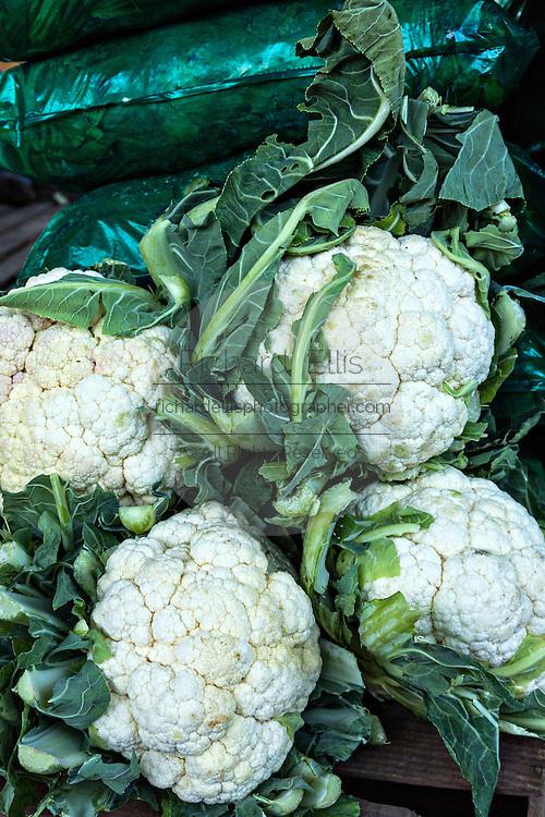 Fresh cauliflower at Benito Juarez market in Oaxaca, Mexico.