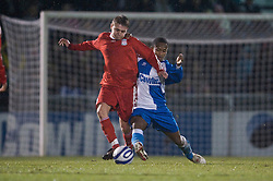 BRISTOL, ENGLAND - Thursday, January 15, 2009: Liverpool's Jack Metcalf in action against Bristol Rovers' Nabi Diallo during the FA Youth Cup match at the Memorial Stadium. (Mandatory credit: David Rawcliffe/Propaganda)