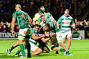 Edinburgh's Magnus Bradbury under pressure during the Guinness Pro 14 2017_18 match between Edinburgh Rugby and Benetton Treviso at Myreside Stadium, Edinburgh, Scotland on 15 September 2017. Photo by Kevin Murray.