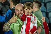 Two Sunderland fans celebrate their teams win after the EFL Sky Bet League 1 match between Rochdale and Sunderland at the Crown Oil Arena, Rochdale, England on 20 August 2019.