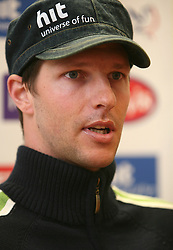 Andrej Jerman, Slovenian skier at the press conference at Ski federation of Slovenia in Ljubljana on February 5th, 2008. (Photo by Vid Ponikvar / Sportal Images).