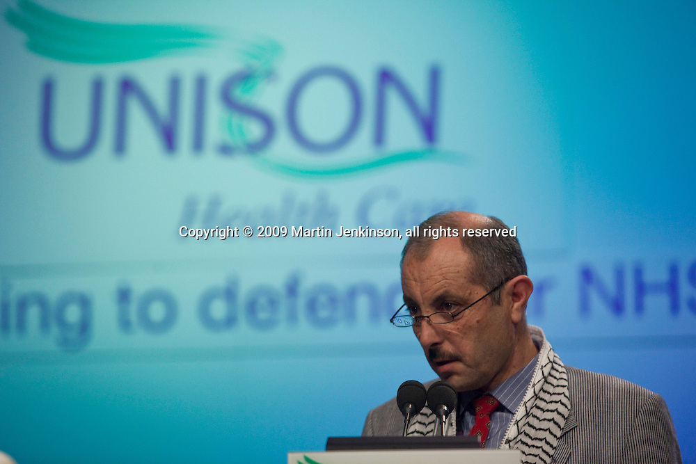 Sami Younis, PGFTU, speaking at the Unison Health Care Service Group Conference..© Martin Jenkinson, tel 0114 258 6808 mobile 07831 189363 email martin@pressphotos.co.uk. Copyright Designs & Patents Act 1988, moral rights asserted credit required. No part of this photo to be stored, reproduced, manipulated or transmitted to third parties by any means without prior written permission.
