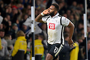 Derby County striker Darren Bent celebrates scoring a penalty in front of the Birmingham fans during the EFL Sky Bet Championship match between Derby County and Birmingham City at the iPro Stadium, Derby, England on 27 December 2016. Photo by Aaron  Lupton.