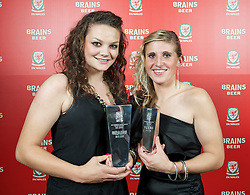 CARDIFF, WALES - Tuesday, October 4, 2011: Wales' Nia Jones (Women's Young Player of the Year) and Any Lea (Club Player of the Year) with their awards at the FAW Footballer of the Year Awards 2011 held at the Wales National Museum. (Pic by David Rawcliffe/Propaganda)