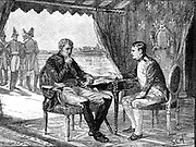 Alexander I Russia and Napoleon I (Bonaparte) of France meeting on a raft in the middle of the river Nieman, 25 June 1807. Napoleonic Wars; Treaty of Tilsit. Wood engraving c1880