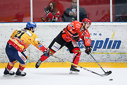 Jaka Ankerst of Jesenice vs Anthony Nigro of Asiago during ice hockey match between HDD SIJ Acroni Jesenice and Migross Supermercati Asiago Hockey in 2 game of Semifinal in AHL - Sky Alps Hockey League, on March 22, 2017 in Jesenice, Slovenia. Photo by Matic Klansek Velej / Sportida