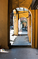 Looking through archways of old colonial shophouses near Chinatown in Kuala Lumpur.
