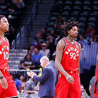 01 November 2017: Toronto Raptors guard DeMar DeRozan (10), Toronto Raptors center Lucas Nogueira (92) and Toronto Raptors forward Pascal Siakam (43) are seen during the Denver Nuggets 129-111 victory over the Toronto Raptors, at the Pepsi Center, Denver, Colorado, USA.