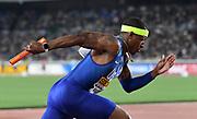 May 12, 2019; Yokohama, JPN; Michael Rodgers runs the first leg on the United States 4 x 100m relay during the IAAF World Relays at International Stadium Yokohama.