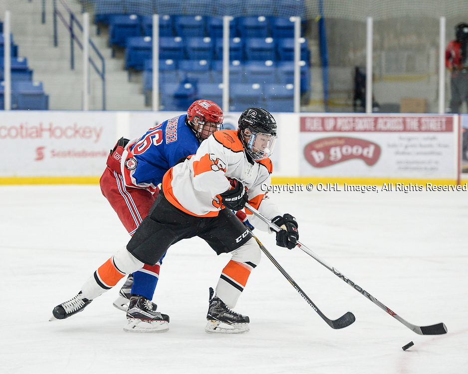 OAKVILLE, ON  - OCT 27,  2017: Ontario Junior Hockey League game between the Oakville Blades and Orangeville Flyers, Alex Lee #55 of the Orangeville Flyers protects the puck from Matthew Kellenberger #26 of the Oakville Blades during the second period.<br /> (Photo by Ryan McCullough / OJHL Images)