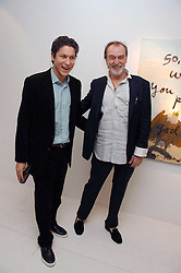 Left to right, VITO SCHNABEL and artist RENE RICARD at an exhibition of paintings by artist Rene Richard at the Scream Gallery, Bruton Street, London on 3rd April 2008.<br />