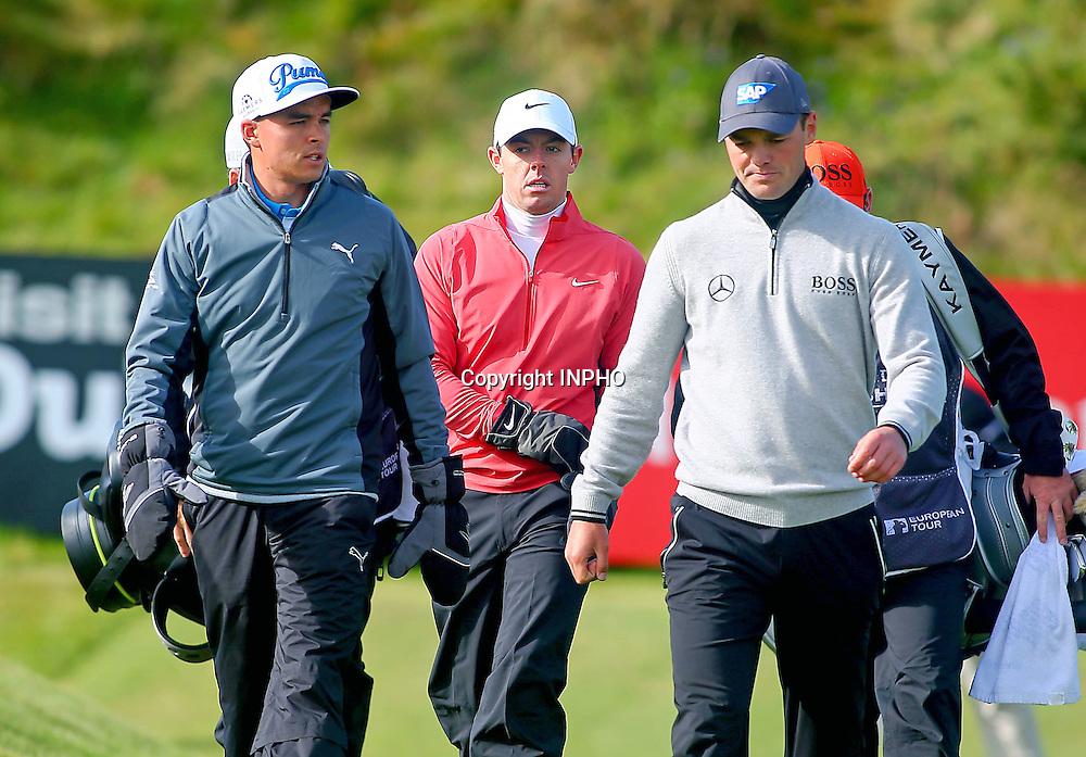 2015 Dubai Duty Free Irish Open Day 1, Royal County Down Golf Club, Co. Down 28/5/2015 <br /> Rickie Fowler, Rory McIlroy and Martin Kaymer <br /> Mandatory Credit &copy;INPHO/Presseye/Kevin Scott