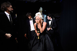 After winning the Oscar® for music written for motion pictures (original song), Lady Gaga backstage during the live ABC Telecast of The 91st Oscars® at the Dolby® Theatre in Hollywood, CA on Sunday, February 24, 2019.