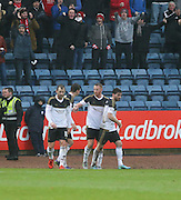 Aberdeen&rsquo;s Adam Rooney is congratulated after scoring his side's second goal  - Dundee v Aberdeen, Ladbrokes Scottish Premiership at Dens Park<br /> <br />  - &copy; David Young - www.davidyoungphoto.co.uk - email: davidyoungphoto@gmail.com