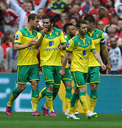Norwich Cameron Jerome Celebrates after scoring Norwich first goal, Middlesbrough v Norwich, Sky Bet Championship, Play Off Final, Wembley Stadium, Monday  25th May 2015